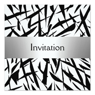 Abstract Silver Party Personalized Invitation
