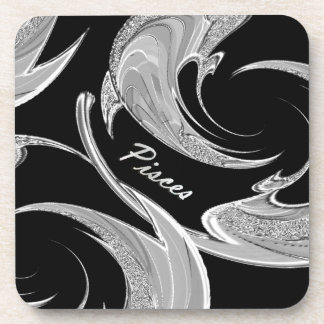 Abstract Silver Pisces Zodiac Drink Coasters