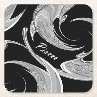 Abstract Silver Pisces Zodiac Square Paper Coaster
