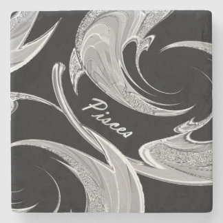 Abstract Silver Pisces Zodiac Stone Beverage Coaster