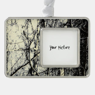 Abstract Silver Plated Framed Ornament