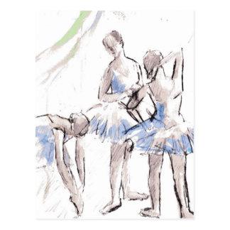 Abstract Sketch Dancing Ballerinas Postcard