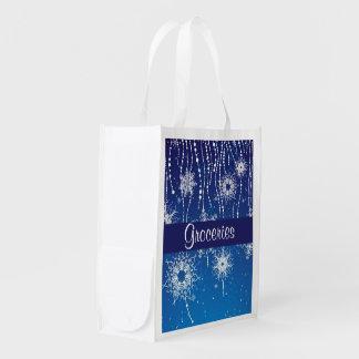 Abstract Snowflakes Reusable Grocery Bag