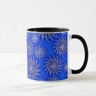 Abstract spinning stars energetic pattern blue mug