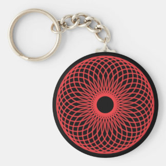 Abstract Spirograph Concentric Circle Pattern Basic Round Button Key Ring