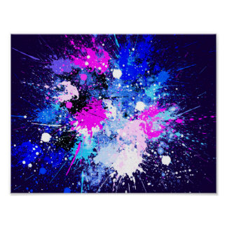 Abstract Splash Painting on Canvas Poster