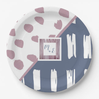 Abstract Split Brush Dots and Checks Paper Plate