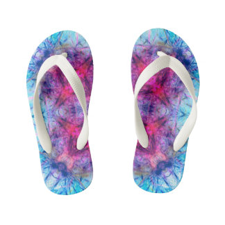 Abstract Spray Floral ,Abstract Rainbow Kid's Flip Flops