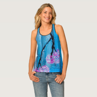 Abstract Spring Blossoms Blue Tank Top