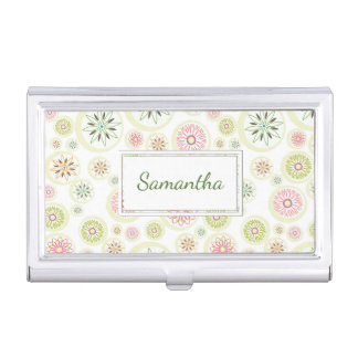 Abstract Spring Flowers Business Card Holder