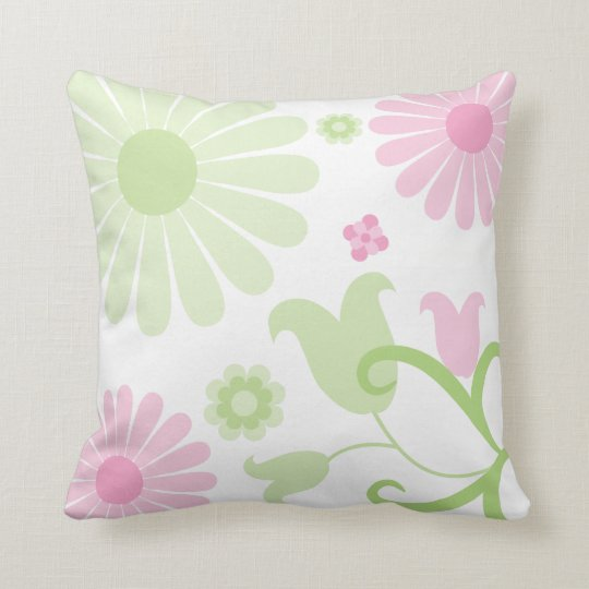 Abstract Spring Green Baby Pink Funky Florals Cushion