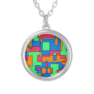 Abstract squares personalized necklace