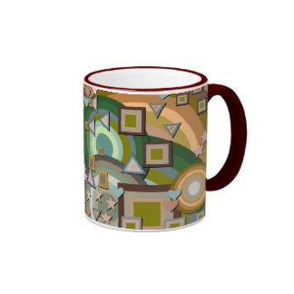 Abstract Squares Triangles Stars Hearts Ringer Mug