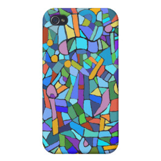 Abstract Stain Glass Mosaic Case For iPhone 4