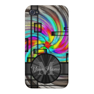 Abstract stained glass and monogram iPhone 4 cover