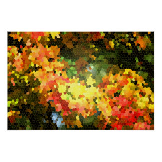 Abstract Stained Glass Autumn Maple Leaves Orange Poster