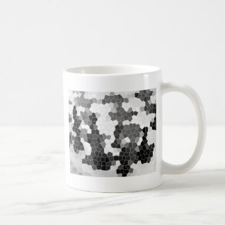 Abstract Stained Glass Black White Grey Mosaic Coffee Mug