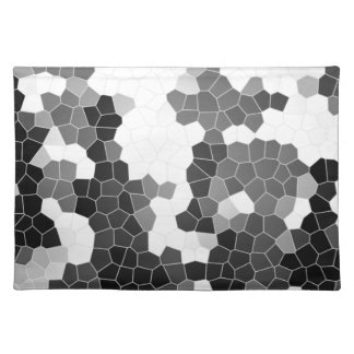 Abstract Stained Glass Black White Grey Mosaic Placemat