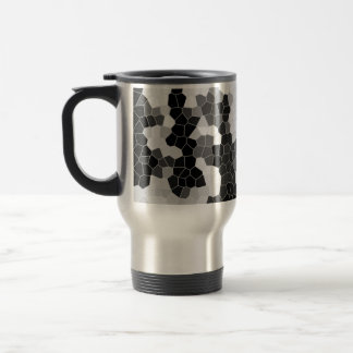 Abstract Stained Glass Black White Grey Mosaic Stainless Steel Travel Mug
