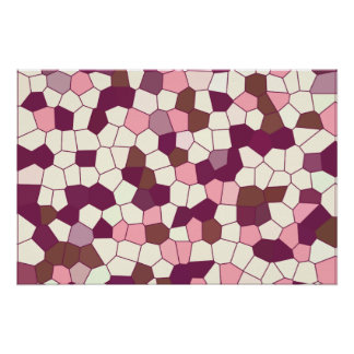 Abstract Stained Glass Blueberry Cheesecake Mosaic Posters
