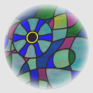 Abstract stained glass Chameleon eye Classic Round Sticker