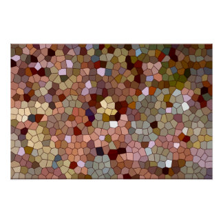 Abstract Stained Glass Copper Silver Metal Coins Poster