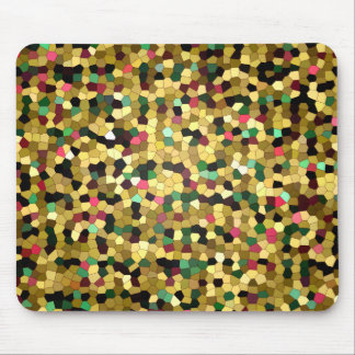 Abstract Stained Glass Gold Pink Green Mosaic Mouse Pad