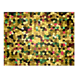 Abstract Stained Glass Gold Pink Green Mosaic Postcard