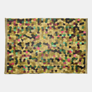Abstract Stained Glass Gold Pink Green Mosaic Tea Towels