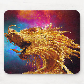 Abstract Stained Glass Golden Dragon Galaxy Mosaic Mouse Pad
