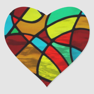 "Abstract stained glass ""Love Heart"" sticker"