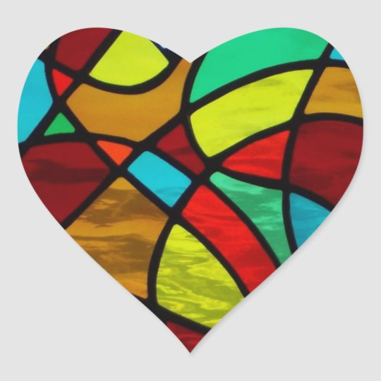 """Abstract stained glass """"Love Heart"""" sticker"""