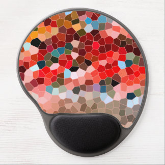 Abstract Stained Glass Red Burgundy Brown Mosaic Gel Mouse Pad