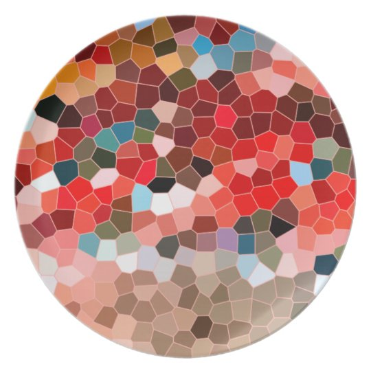 Abstract Stained Glass Red Burgundy Brown Mosaic Plate