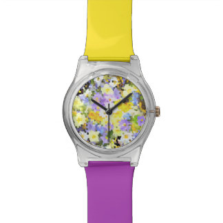 Abstract Stained Glass Spring Flower Yellow Violet Watch
