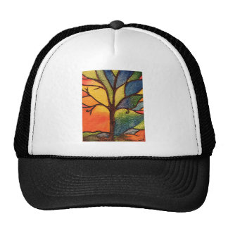 Abstract Stained Glass textured Tree Hat