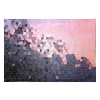 Abstract Stained Glass Winter Sunset Trees Mosaic Placemats