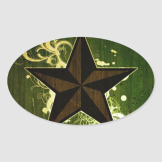 Abstract Star Oval Sticker