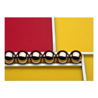 Abstract Steel balls and rods on red and yellow ac Invite