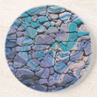 abstract stones blue beverage coaster