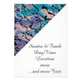 abstract stones blue invitation