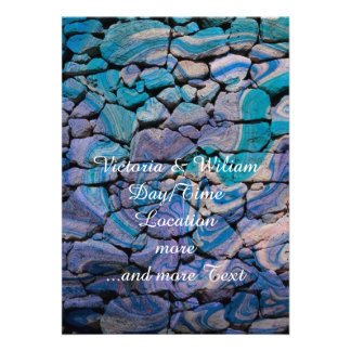 abstract stones blue personalized invitations