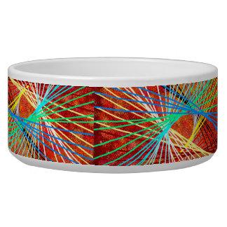 Abstract String Art Dog Water Bowl