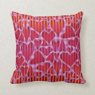 Abstract Striped Hearts on Gingham Cushions