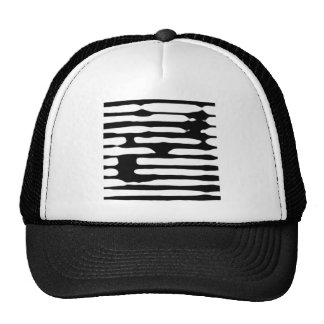 Abstract striped monochrome dogecoin hats