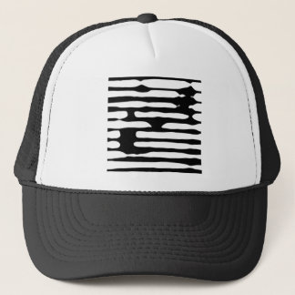 Abstract striped monochrome dogecoin trucker hat