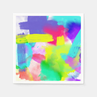 Abstract Stripes Neon Artistic Watercolor Pattern Disposable Serviette