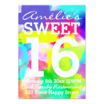 Abstract Stripes Neon Watercolor Pattern Sweet 16 13 Cm X 18 Cm Invitation Card