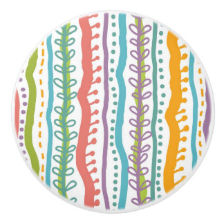 Abstract Stripes Vertical Pattern Ceramic Knob