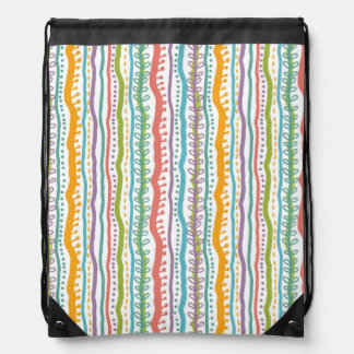Abstract Stripes Vertical Pattern Drawstring Bag
